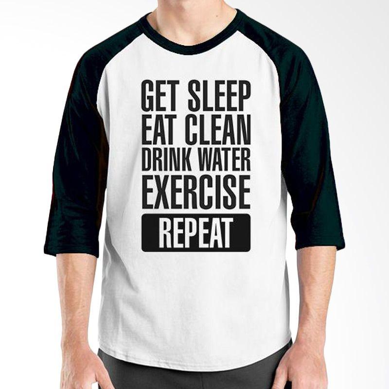 Ordinal Raglan Fitness Repeat Putih Hitam Kaos Pria