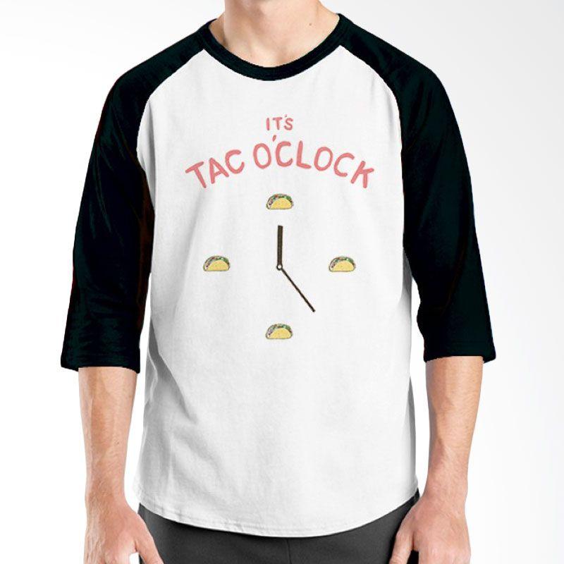 Ordinal Raglan Foodtastic 01 Hitam Putih Kaos Pria