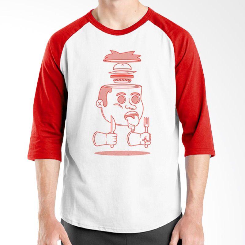 Ordinal Raglan Foodtastic 10 Merah Putih Kaos Pria