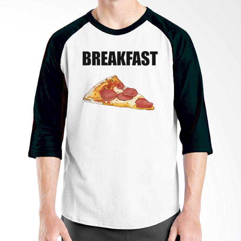 Ordinal Raglan Foodtastic 13 Hitam Putih Kaos Pria