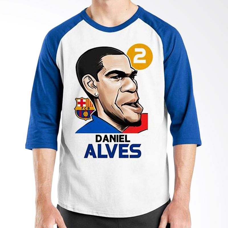 Ordinal Raglan Football Player Edition Alves Biru Putih Kaos Pria
