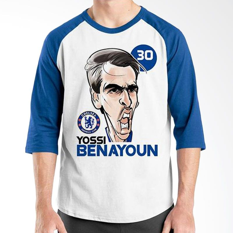 Ordinal Raglan Football Player Edition Benayoun Biru Putih Kaos Pria