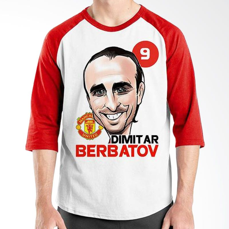 Ordinal Raglan Football Player Edition Berbatov Merah Putih Kaos Pria