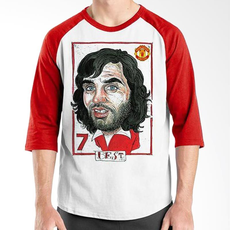 Ordinal Raglan Football Player Edition Best Merah Putih Kaos Pria