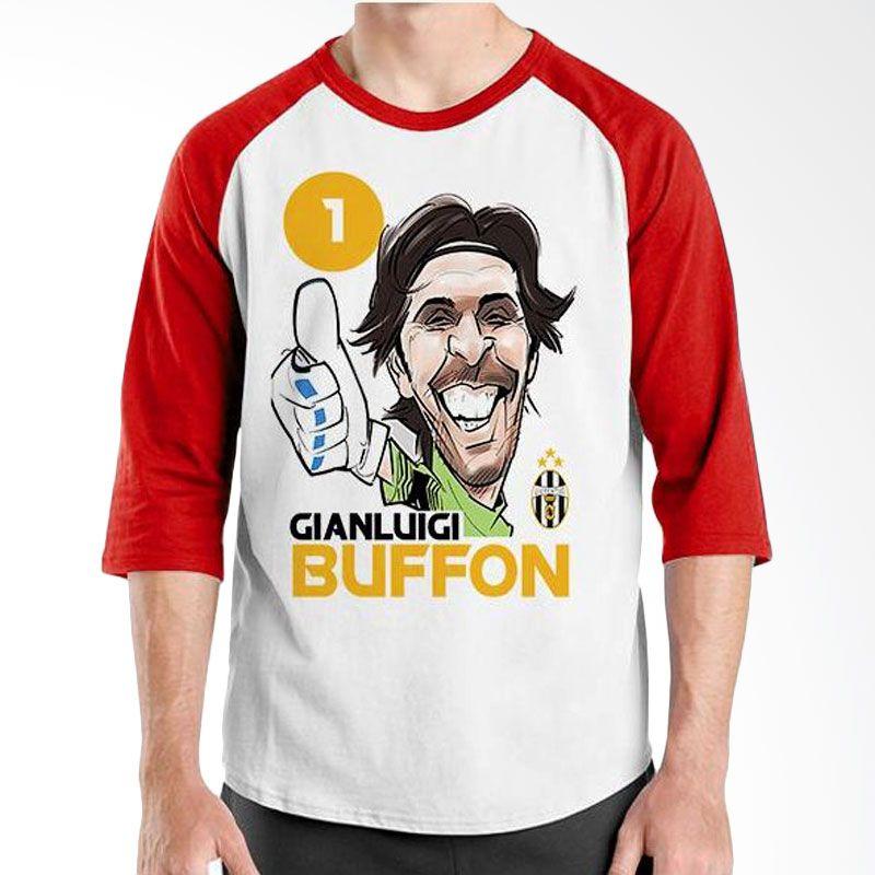 Ordinal Raglan Football Player Edition Buffon Merah Putih Kaos Pria