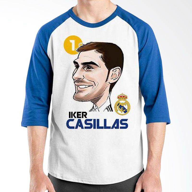 Ordinal Raglan Football Player Edition Casillas Biru Putih Kaos Pria