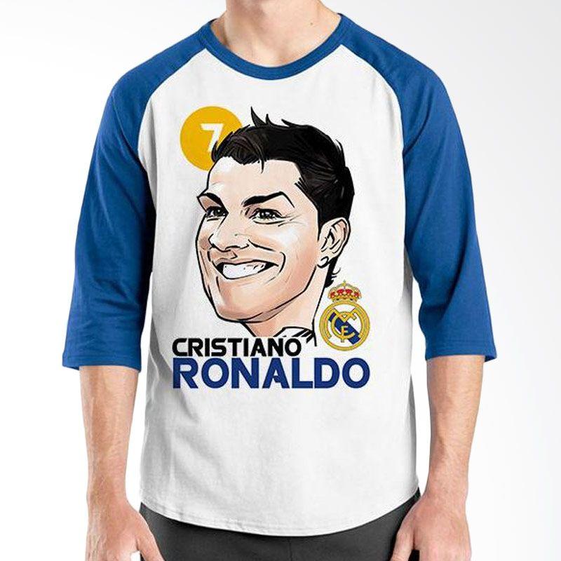 Ordinal Raglan Football Player Edition Cristiano Ronaldo 01 Biru Putih Kaos Pria