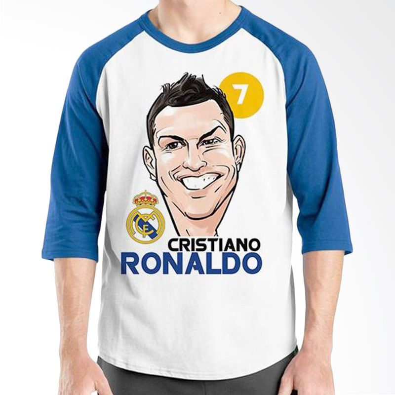 Ordinal Raglan Football Player Edition Cristiano Ronaldo 02 Biru Putih Kaos Pria