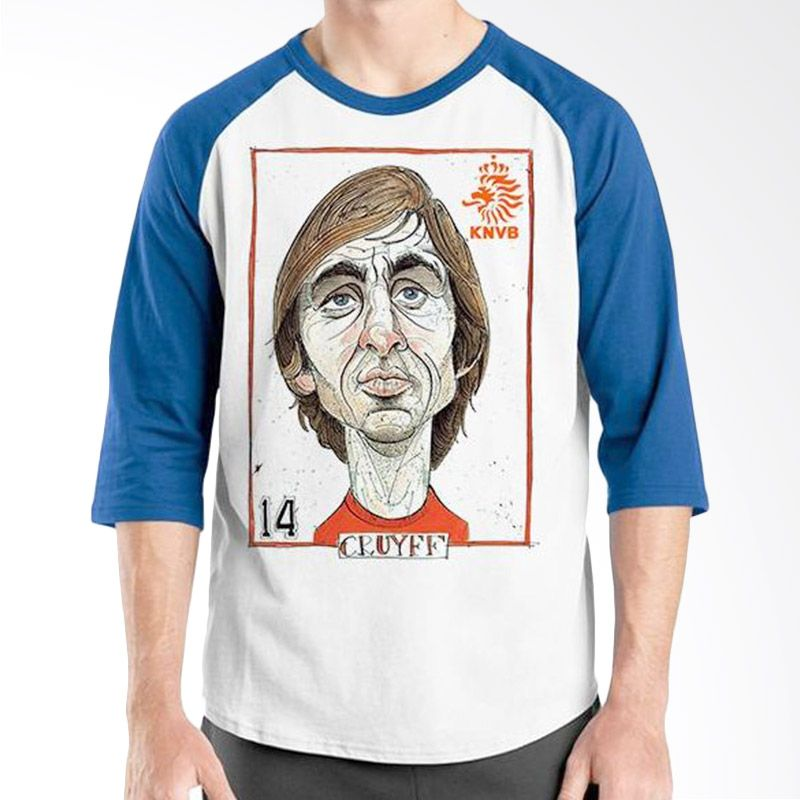 Ordinal Raglan Football Player Edition Cruyff Biru Putih Kaos Pria