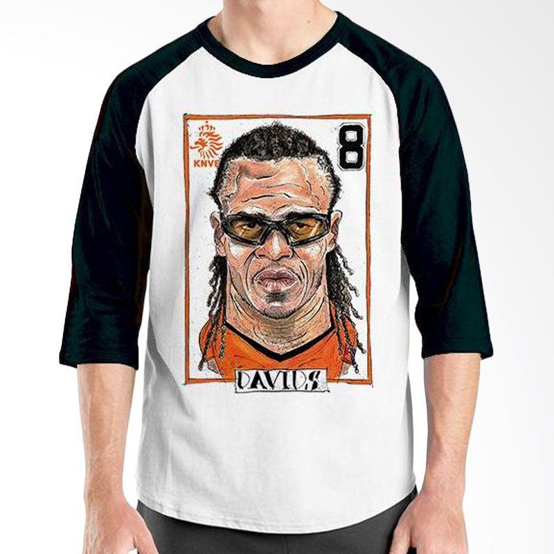 Ordinal Raglan Football Player Edition Davids Hitam Putih Kaos Pria