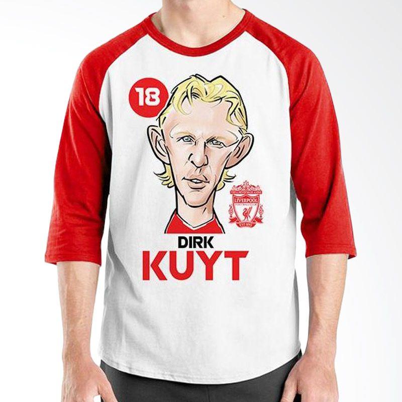Ordinal Raglan Football Player Edition Dirk Kuyt Merah Putih Kaos Pria