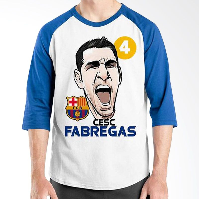 Ordinal Raglan Football Player Edition Fabregas Biru Putih Kaos Pria