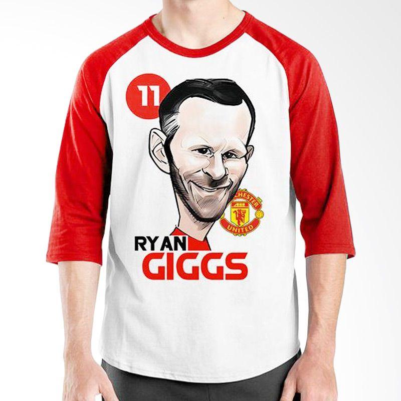 Ordinal Raglan Football Player Edition Giggs Merah Putih Kaos Pria