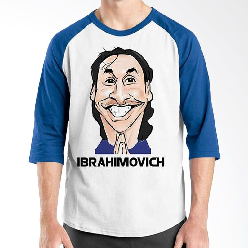 Ordinal Raglan Football Player Edition Ibrahimovich Biru Putih Kaos Pria