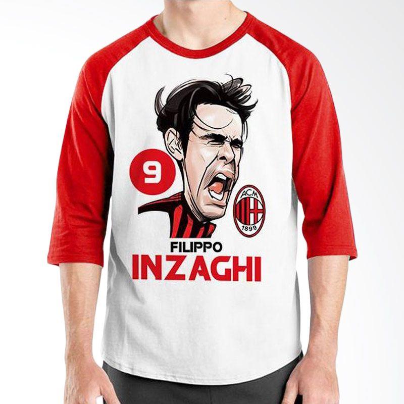 Ordinal Raglan Football Player Edition Inzaghi Merah Putih Kaos Pria