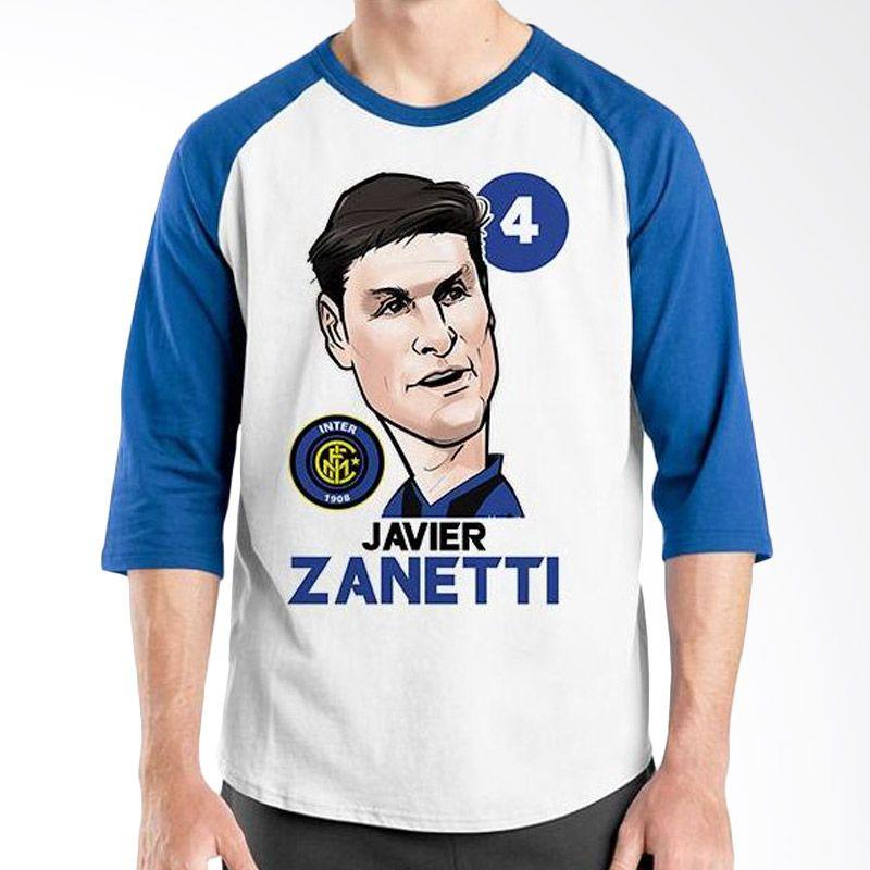 Ordinal Raglan Football Player Edition Javier Zanetti Biru Putih Kaos Pria