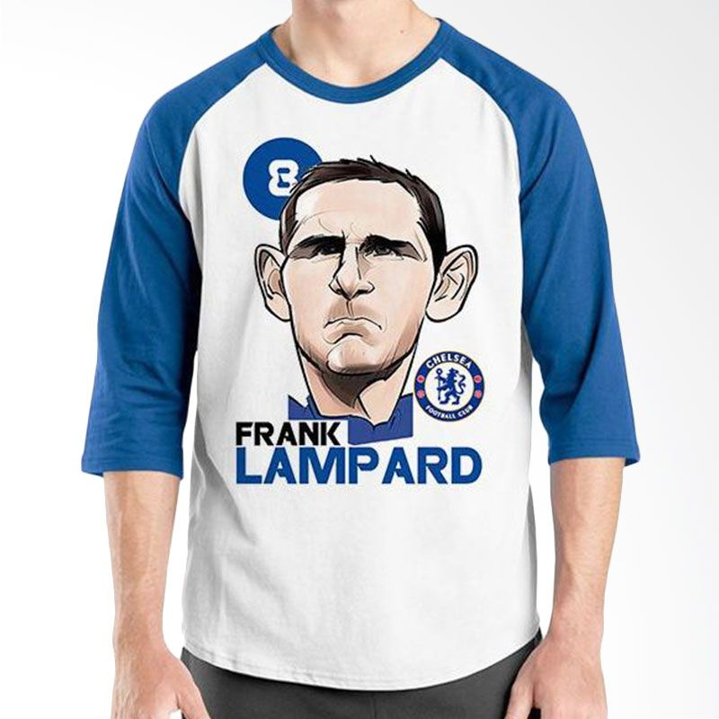 Ordinal Raglan Football Player Edition Lampard Biru Putih Kaos Pria