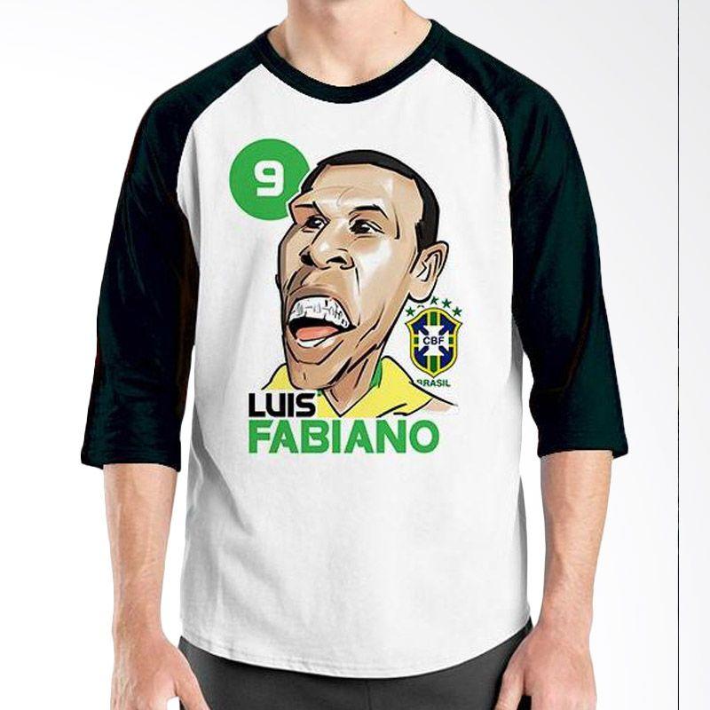 Ordinal Raglan Football Player Edition Luis Fabiano Hitam Putih Kaos Pria