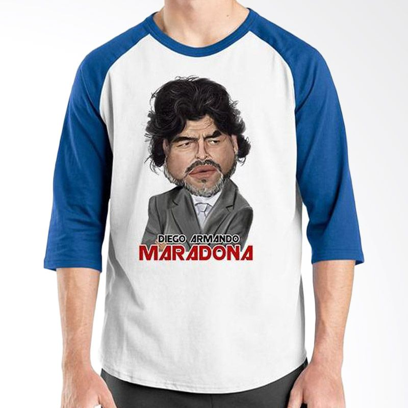 Ordinal Raglan Football Player Edition Maradona 01 Biru Putih Kaos Pria