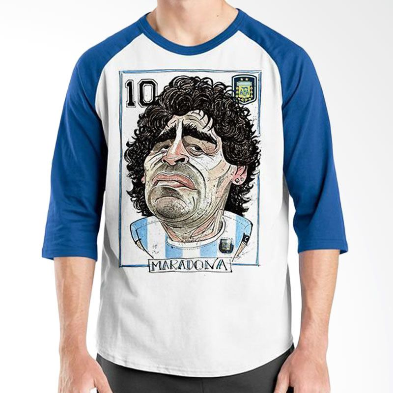 Ordinal Raglan Football Player Edition Maradona 02 Biru Putih Kaos Pria