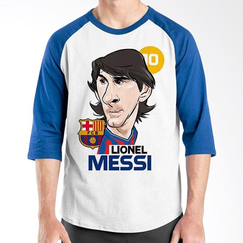 Ordinal Raglan Football Player Edition Messi 01 Biru Putih Kaos Pria