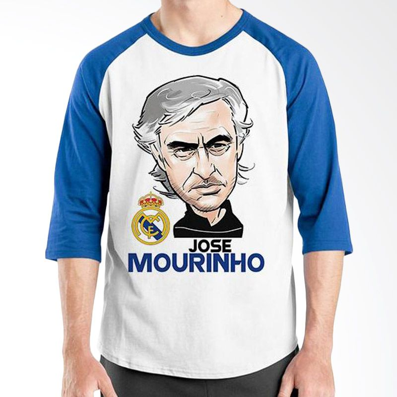 Ordinal Raglan Football Player Edition Mourinho Biru Putih Kaos Pria