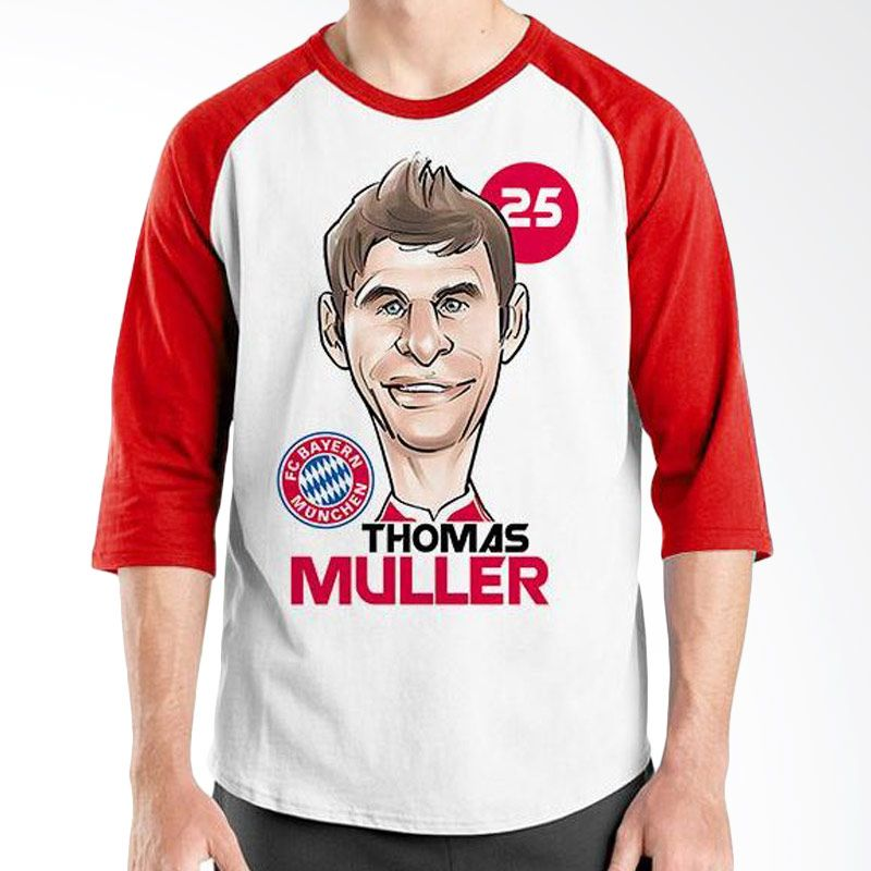 Ordinal Raglan Football Player Edition Muller Merah Putih Kaos Pria