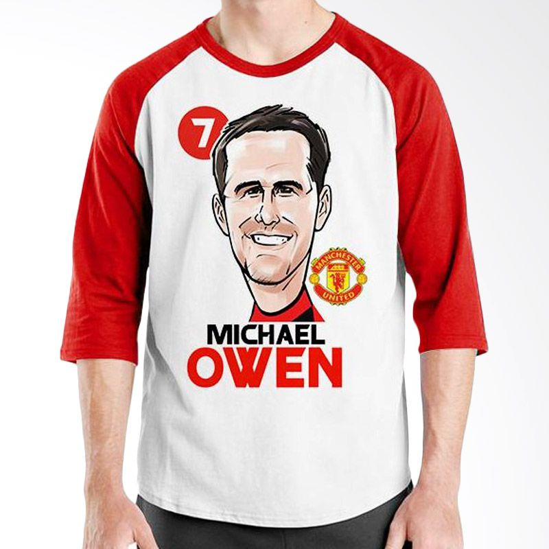 Ordinal Raglan Football Player Edition Owen Merah Putih Kaos Pria