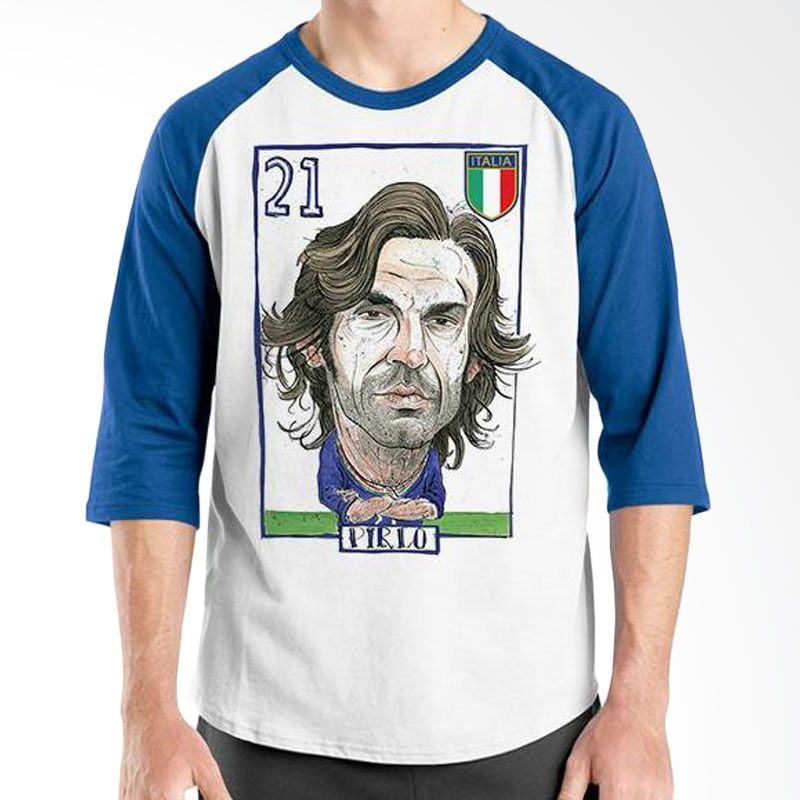 Ordinal Raglan Football Player Edition Pirlo Biru Putih Kaos Pria