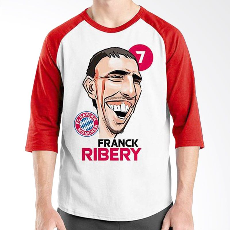 Ordinal Raglan Football Player Edition Ribery Merah Putih Kaos Pria