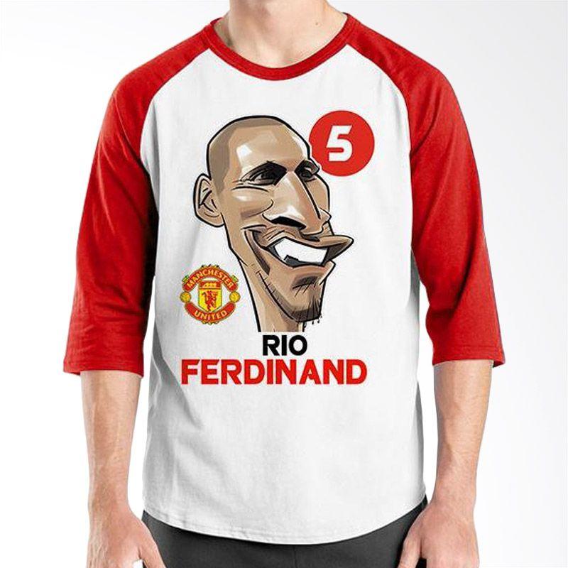 Ordinal Raglan Football Player Edition Rio Ferdinand Merah Putih Kaos Pria