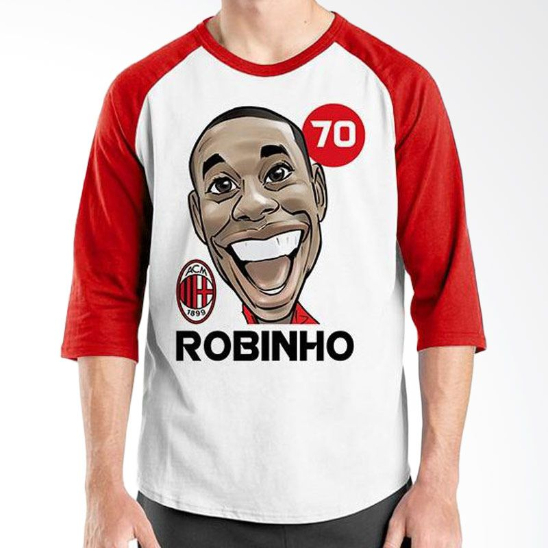 Ordinal Raglan Football Player Edition Robinho Merah Putih Kaos Pria