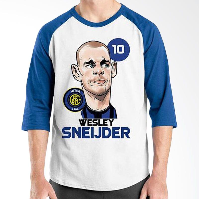 Ordinal Raglan Football Player Edition Sneijder Biru Putih Kaos Pria