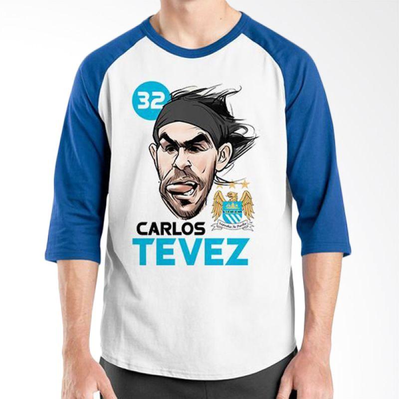 Ordinal Raglan Football Player Edition Tevez Biru Putih Kaos Pria