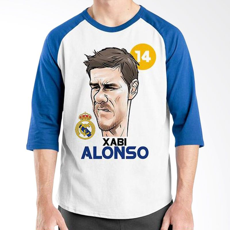 Ordinal Raglan Football Player Edition Xabi Alonso Biru Putih Kaos Pria