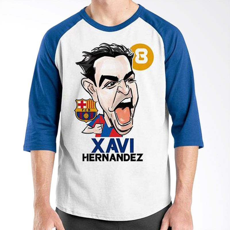 Ordinal Raglan Football Player Edition Xavi Biru Putih Kaos Pria