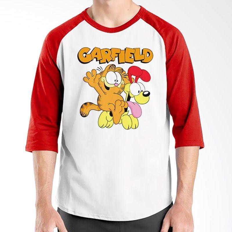Ordinal Raglan Garfield Merah Putih Kaos Pria