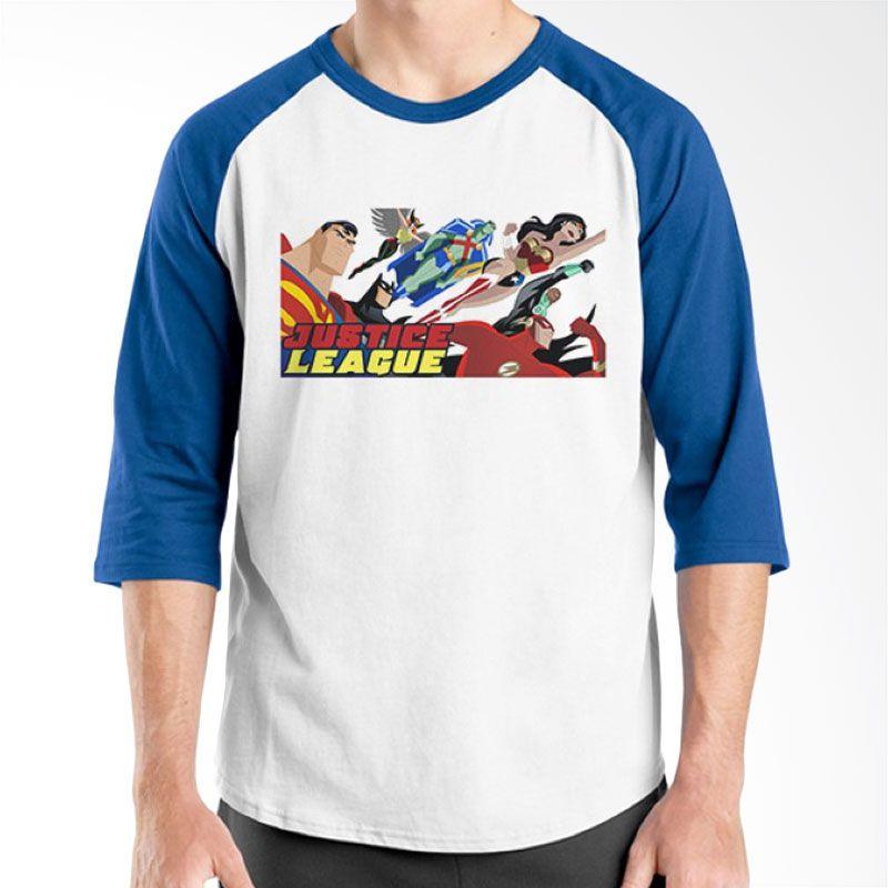 Ordinal Raglan Justice League 01 Biru Putih Kaos Pria