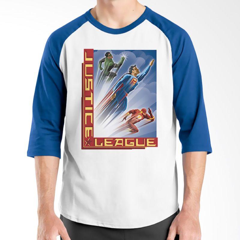 Ordinal Raglan Justice League 03 Biru Putih Kaos Pria