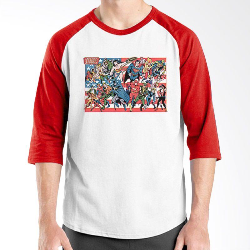 Ordinal Raglan Justice League 05 Merah Putih Kaos Pria