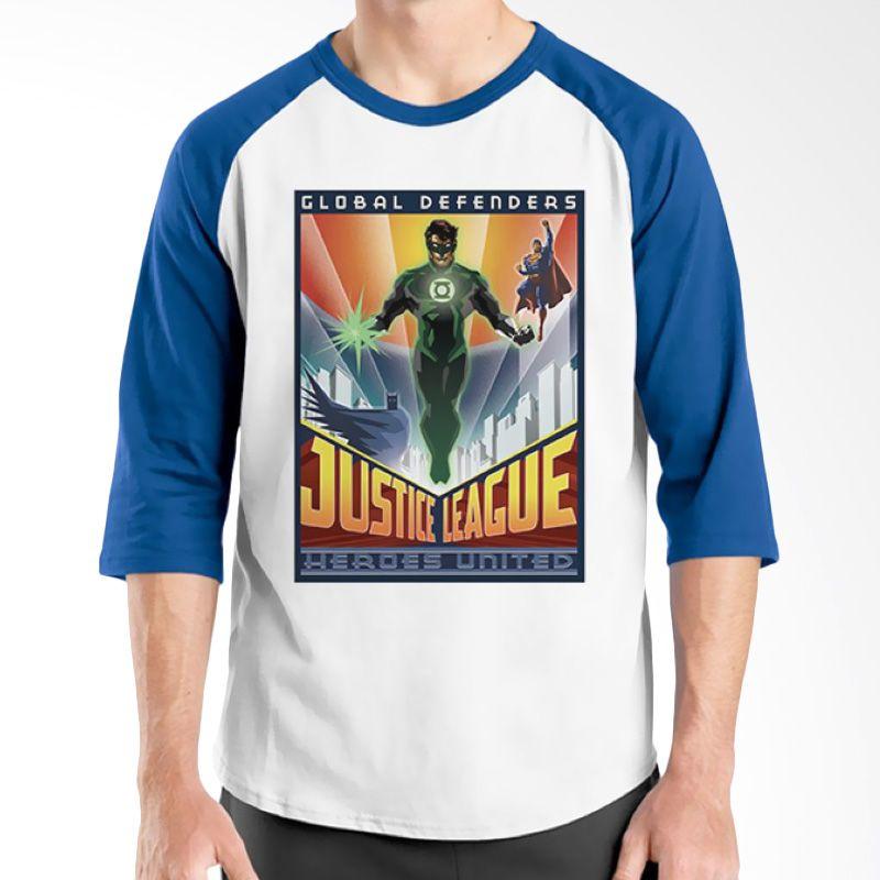 Ordinal Raglan Justice League 10 Biru Putih Kaos Pria