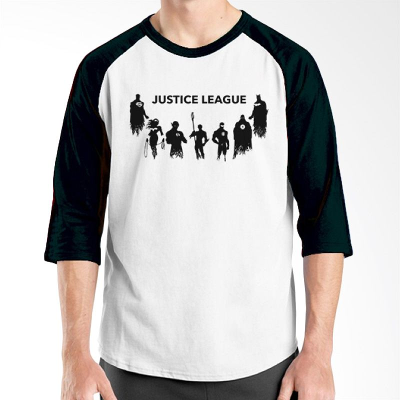 Ordinal Raglan Justice League 12 Hitam Putih Kaos Pria