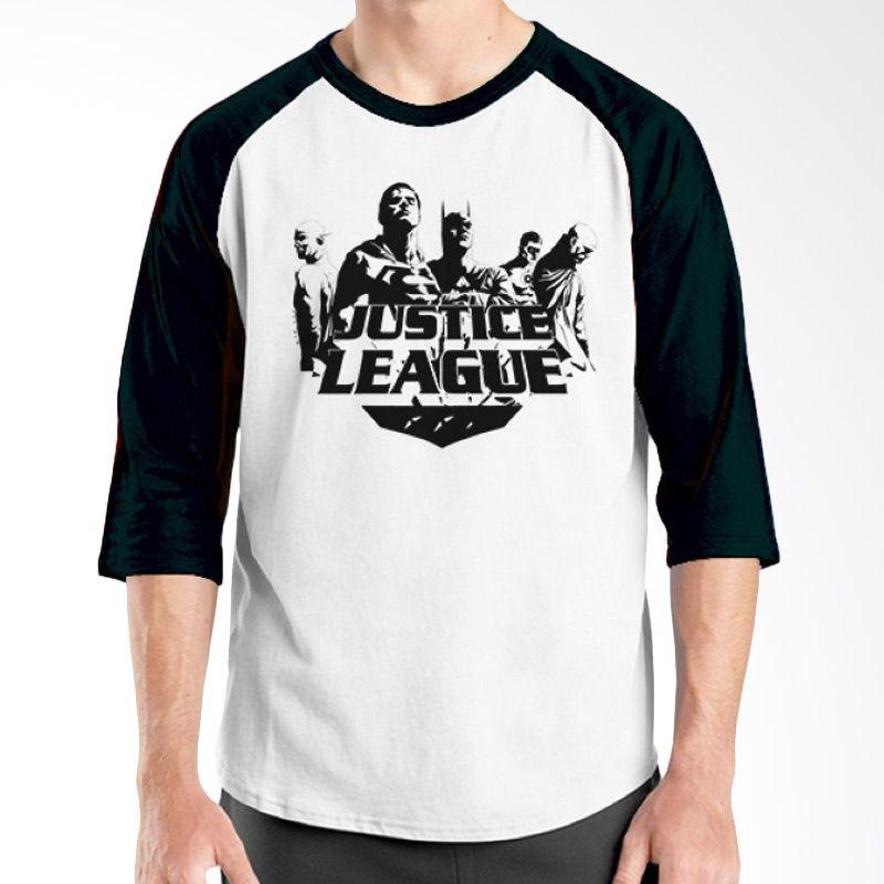 Ordinal Raglan Justice League 14 Hitam Putih Kaos Pria