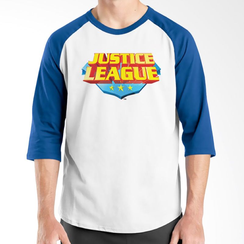 Ordinal Raglan Justice League 16 Biru Putih Kaos Pria