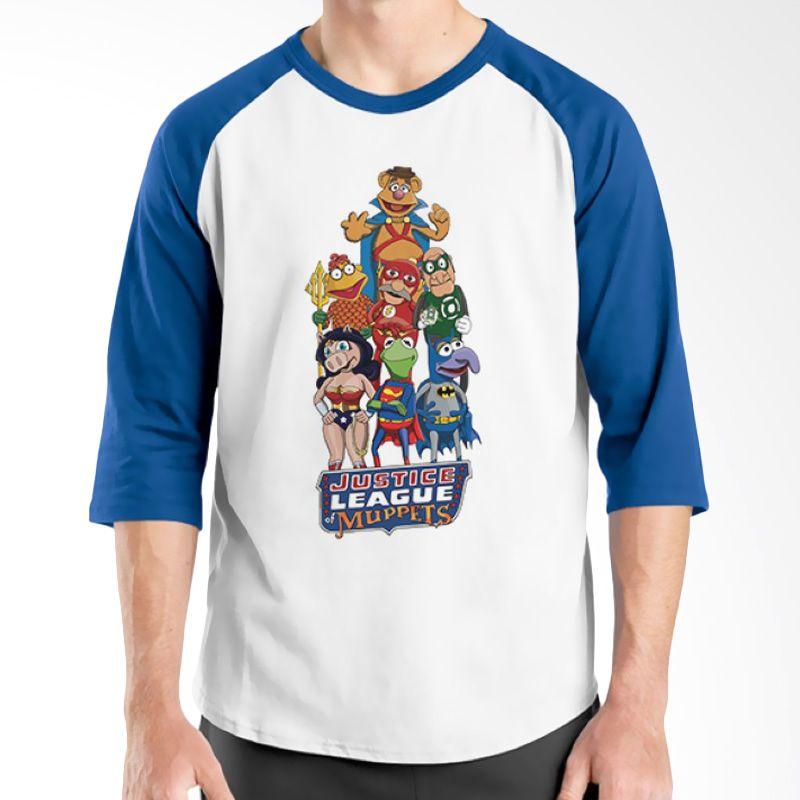 Ordinal Raglan Justice League 17 Biru Putih Kaos Pria