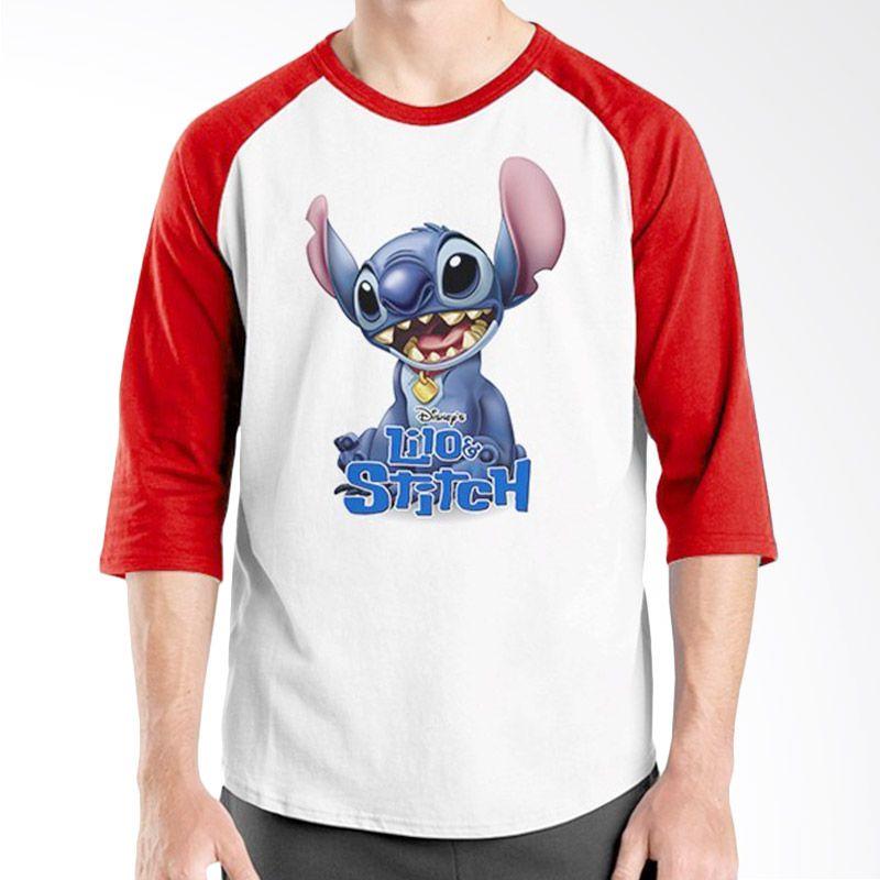 Ordinal Raglan Lilo and Stitch 02 Merah Putih Kaos Pria