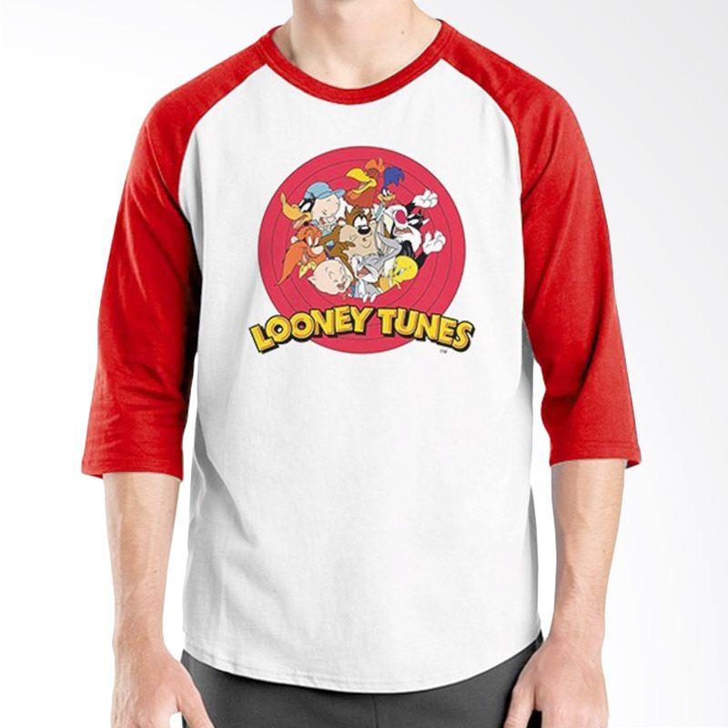 Ordinal Raglan Looney Tunes Merah Putih Kaos Pria