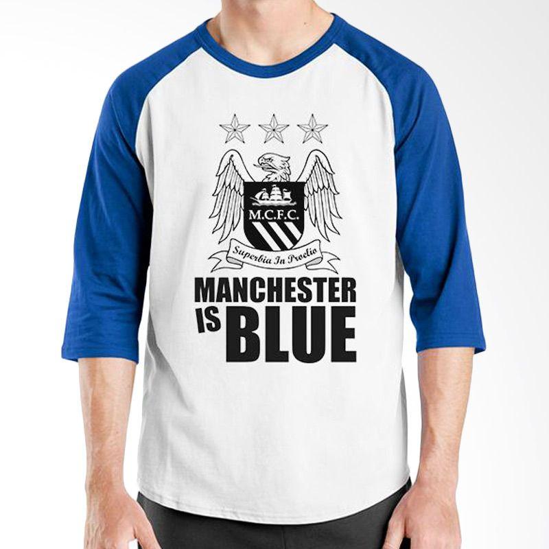 Ordinal Raglan Manchester City 01 Biru Putih Kaos Pria