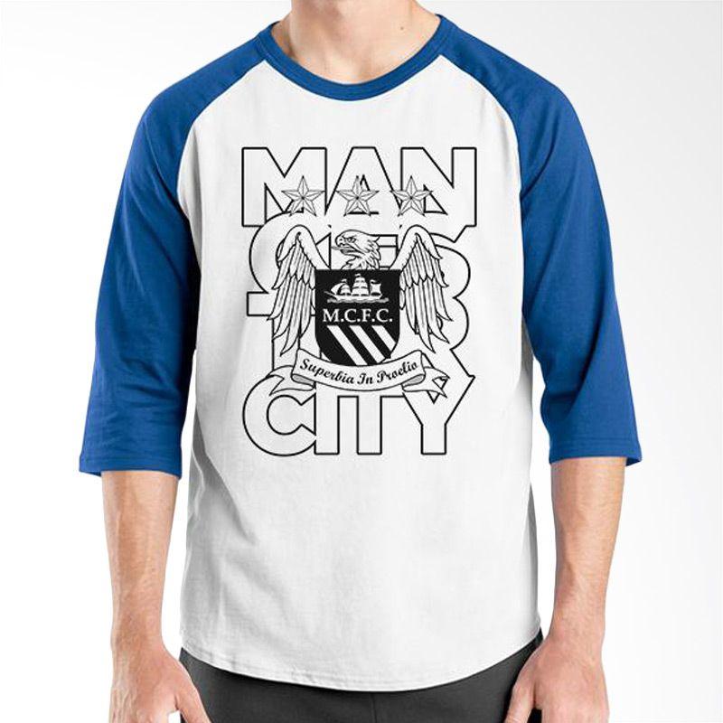 Ordinal Raglan Manchester City 07 Biru Putih Kaos Pria