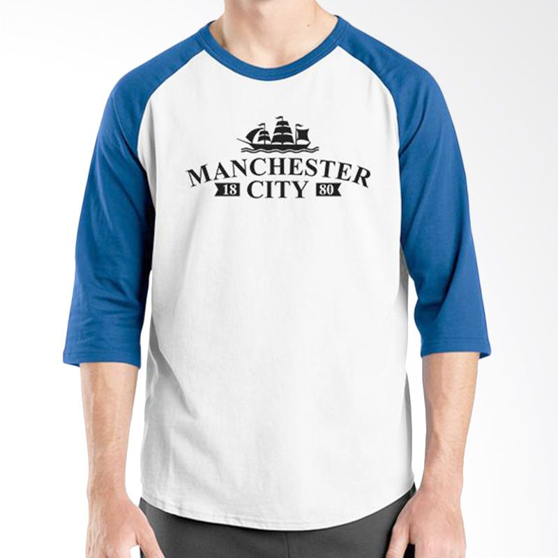 Ordinal Raglan Manchester City 08 Biru Putih Kaos Pria